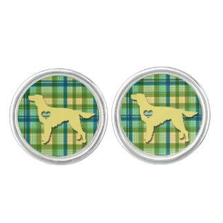 Love My Irish Setter Puppy Dog Tartan Plaid Cufflinks