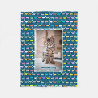 Love My Kitty Your Custom Photo Cat Print Teal Fleece Blanket