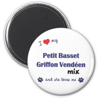 Love My Petit Basset Griffon Vendeen Mix (Female) 6 Cm Round Magnet
