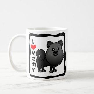 Love My Pomeranian - Black Coffee Mug