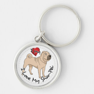 Love My Shar Pei Silver-Colored Round Key Ring