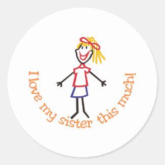 Love My Sister Classic Round Sticker