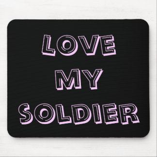Love My Soldier Army Blush And Black Military Mouse Pad