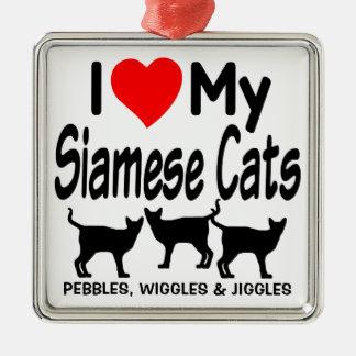 Love My Three Siamese Cats Metal Ornament