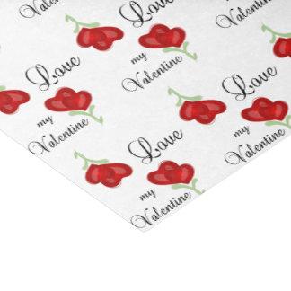 Love my Valentine Red Heart Flowers Tissue Paper