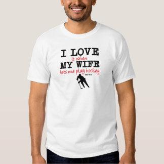 Love My Wife Play Hockey Shirt