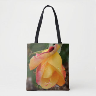 Love n Peace Rose Monogram All Over Print Tote Bag