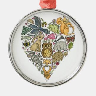 Love Nature Silver-Colored Round Decoration