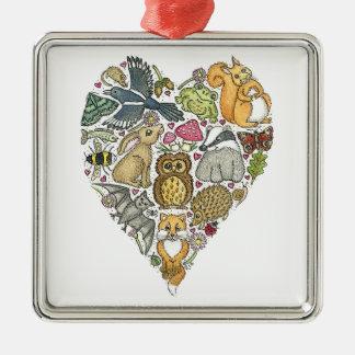 Love Nature Silver-Colored Square Decoration