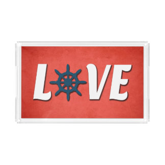 Love nautical design acrylic tray