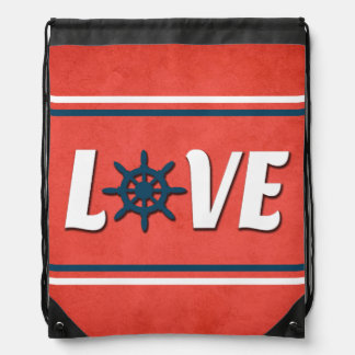 Love nautical design drawstring bag