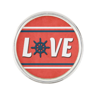 Love nautical design lapel pin