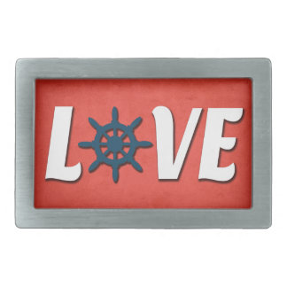 Love nautical design rectangular belt buckle