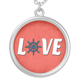 Love nautical design silver plated necklace