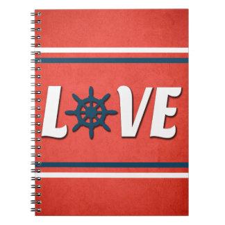 Love nautical design spiral notebook