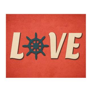 Love nautical design wood print