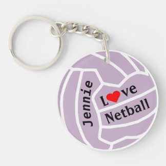Love Netball Ball Personalized Double-Sided Round Acrylic Key Ring