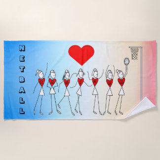 Love Netball Positions and Heart Print Beach Towel