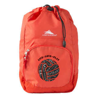 Love Netball Team Ball Typography Backpack