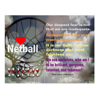 Love Netball Theme and Inspirational Quote Postcard