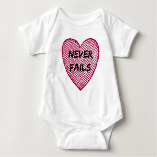Love Never Fails Baby Bodysuit