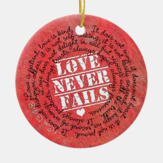 Love Never Fails Bible Verse 1 Corinthians 13:4-8 Round Ceramic Decoration