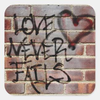 Love Never Fails Graffiti Square Sticker