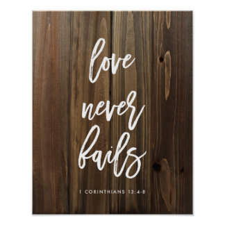 Love Never Fails on Faux Wood | Poster