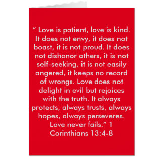"""""""Love Never Fails"""" Scripture Greeting Card"""