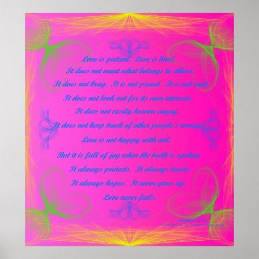 Love never fails scripture poster