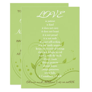 Love never fails(Spring green and chocolate brown) Card