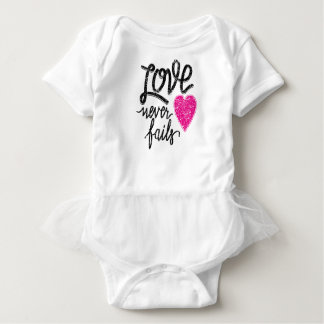love never fails, vintage heart baby bodysuit