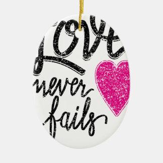 love never fails, vintage heart ceramic ornament