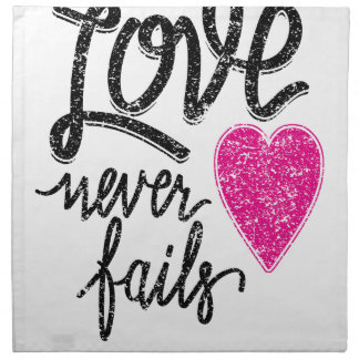 love never fails, vintage heart napkin
