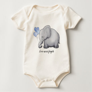 Love Never Forgets Adorable Balloon Elephant Baby Bodysuit