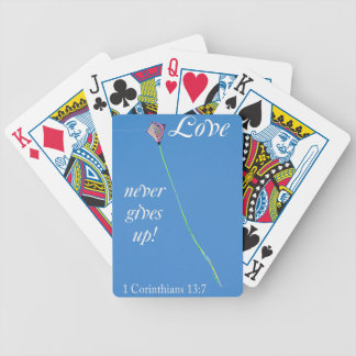 love never gives up bicycle playing cards