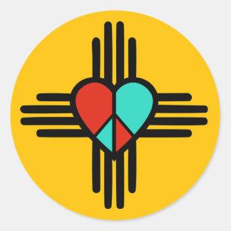 Love, New Mexico, Peace Classic Round Sticker