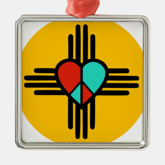 Love, New Mexico, Peace Silver-Colored Square Decoration