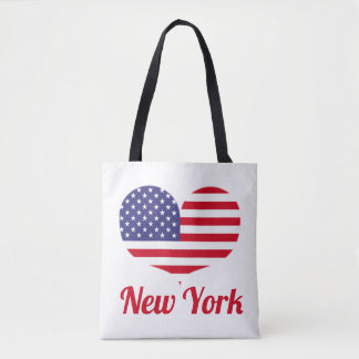Love New York | Heart Shaped American Flag Tote Bag