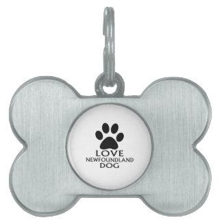 LOVE NEWFOUNDLAND DOG DESIGNS PET TAG