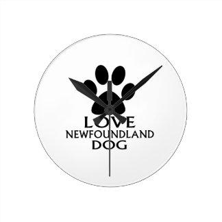LOVE NEWFOUNDLAND DOG DESIGNS ROUND CLOCK