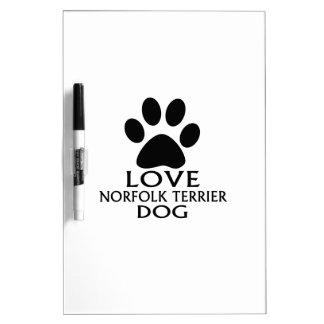 LOVE NORFOLK TERRIER DOG DESIGNS DRY ERASE BOARD