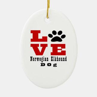 Love Norwegian Elkhound Dog Designes Ceramic Oval Decoration