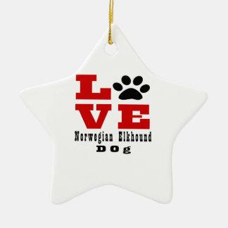 Love Norwegian Elkhound Dog Designes Ceramic Star Decoration