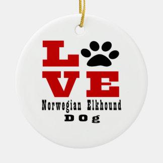 Love Norwegian Elkhound Dog Designes Round Ceramic Decoration
