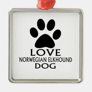 LOVE NORWEGIAN ELKHOUND DOG DESIGNS METAL ORNAMENT