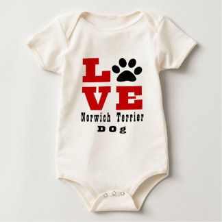 Love Norwich Terrier Dog Designes Baby Bodysuit