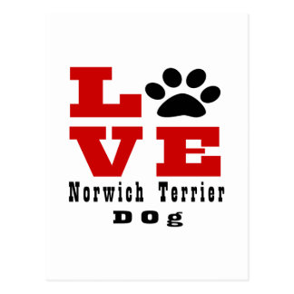 Love Norwich Terrier Dog Designes Postcard