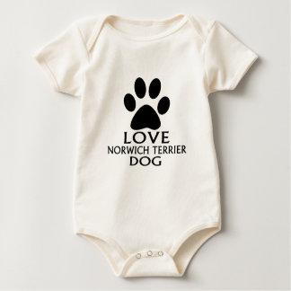 LOVE NORWICH TERRIER DOG DESIGNS BABY BODYSUIT