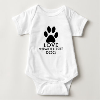 LOVE NORWICH TERRIER DOG DESIGNS BABY BODYSUIT